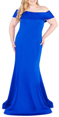 Mac Duggal Plus Size Off-the-Shoulder Short-Sleeve Mermaid Gown