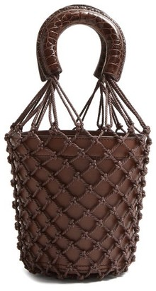 STAUD Moreau Macrame And Leather Bucket Bag - Womens - Dark Brown