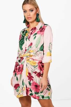 boohoo Plus Stripe + Floral Twist Front Shirt Dress