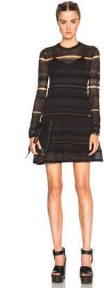 McQ Alexander McQueen Geometric Lace Skater Dress $450 thestylecure.com