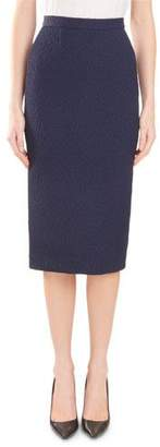 Roland Mouret Arreton Puckered-Stretch Pencil Skirt with Back Zip