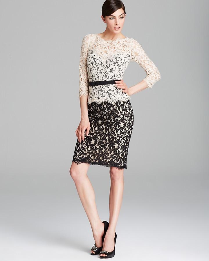 Tadashi Shoji Petites Color Block Lace Dress