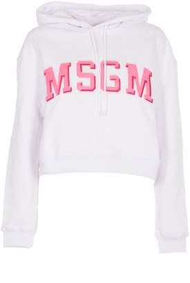 MSGM Cropped Logo Hoodie