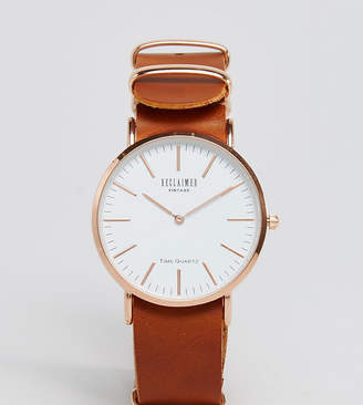 Reclaimed Vintage Inspired Leather Watch In Tan 36mm Exclusive to ASOS