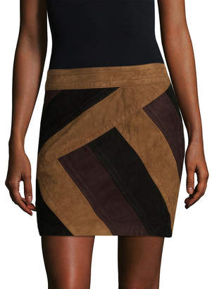 Derek Lam 10 Crosby Colorblocked Leather Mini Skirt