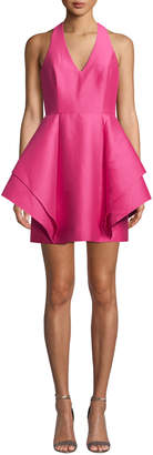 Halston Halter-Neck Dramatic Flounce Skirt Mini Dress