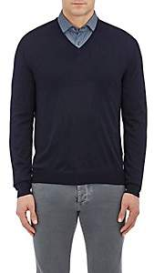 Barneys New York Men's Wool V-Neck Sweater - Navy