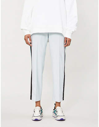 Maje Side-striped high-rise cotton-blend trousers