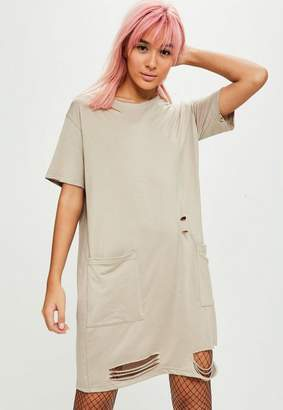 Missguided Nude Distressed T-Shirt Dress