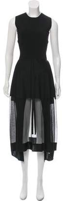 Alexander McQueen Sheer-Paneled Midi Dress w/ Tags