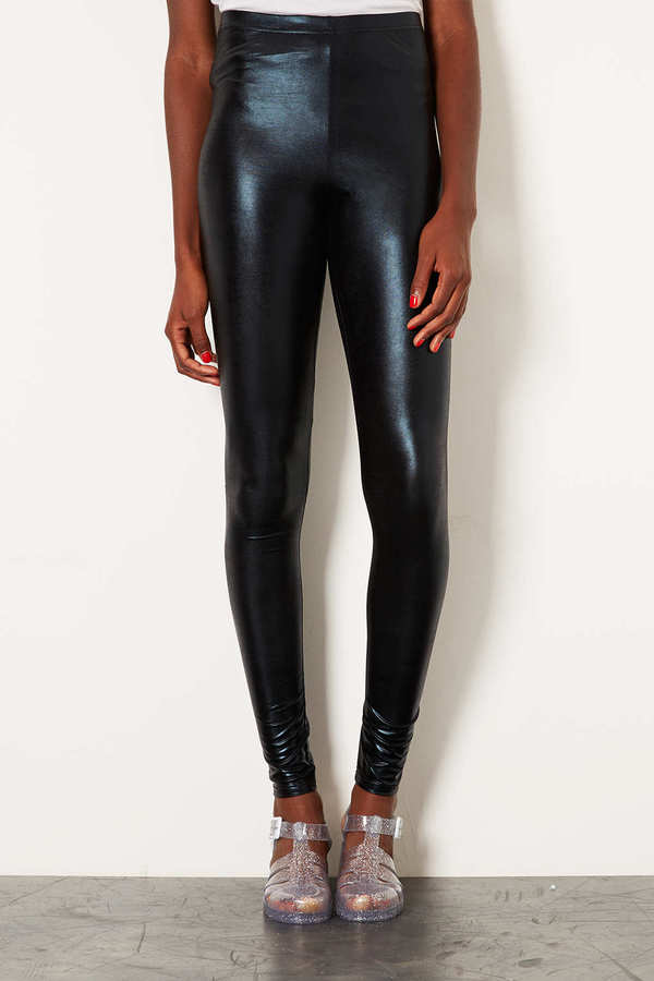 Topshop Tall High Shine Wetlook Leggings