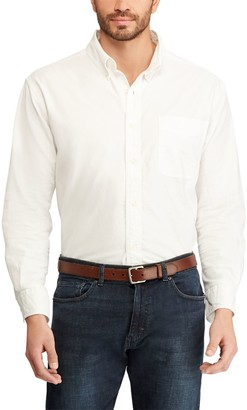 Chaps Big & Tall Solid Oxford Casual Button-Down Shirt