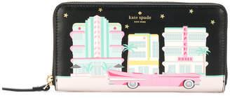Kate Spade printed zip around continental wallet
