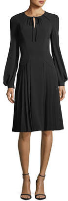 Zac Posen Tie-Neck Long-Sleeve Crepe Dress