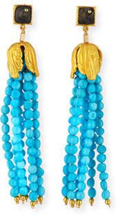 Dina Mackney Sleeping Beauty Turquoise Tassel Earrings
