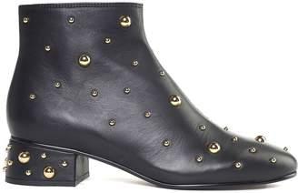 See by Chloe Jarvis Stud-embellished Leather Booties