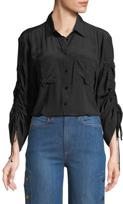 Nanette Lepore Beach Boy Ruched-Sleeve Silk Top