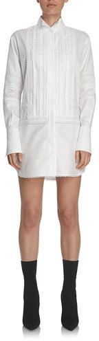 Burberry Burberry Short Pintucked Cotton Shirtdress, White