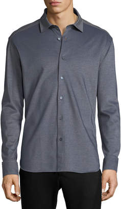 Ermenegildo Zegna Pique Knit Button-Front Shirt