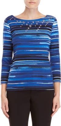 Rafaella Petite Stripe Grommet Top