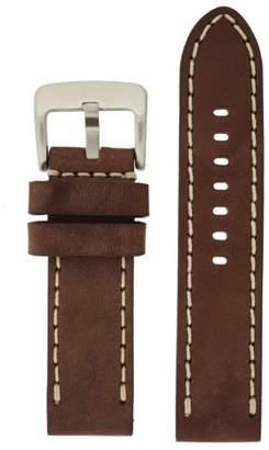 Tech Swiss LEA1555-24 24 mm leather calfskin brown watch band.