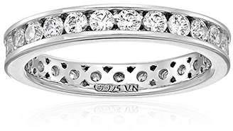 Swarovski Platinum Plated Sterling Silver Zirconia Channel Set Eternity Ring