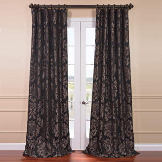 Half Price Drapes Astoria Damask Faux Silk Jacquard Rod Pocket Single Curtain Panel