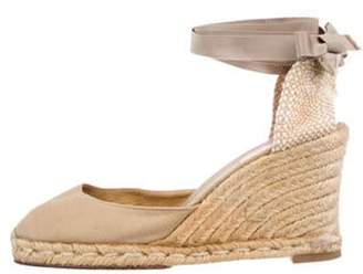 Christian Louboutin Wrap-Around Espadrille Wedges Beige Wrap-Around Espadrille Wedges