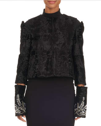 Oscar de la Renta Shearling Fur Bolero Jacket w/ Cutouts & Beaded Trim
