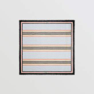 Burberry Icon Stripe Monogram Print Wool Silk Square Large Scarf