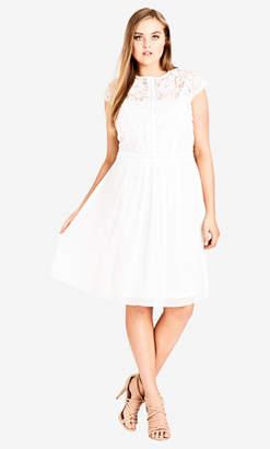 City Chic Ivory Lace Bodice Dress