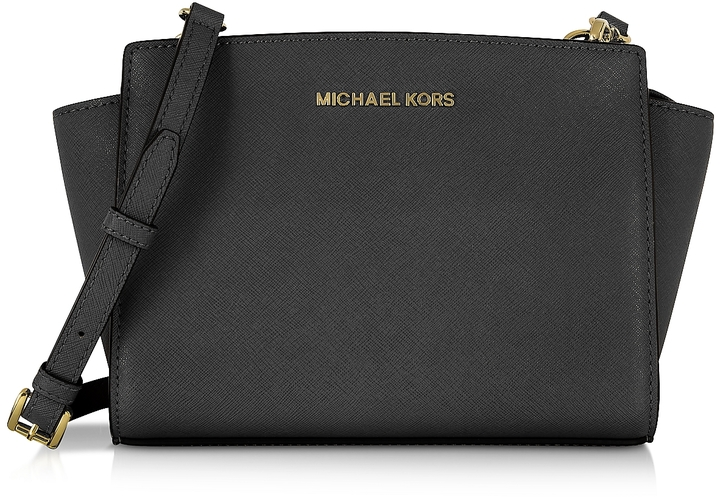 black and gray michael kors bag ya6d  Michael Kors Selma Medium Black Saffiano Leather Messenger