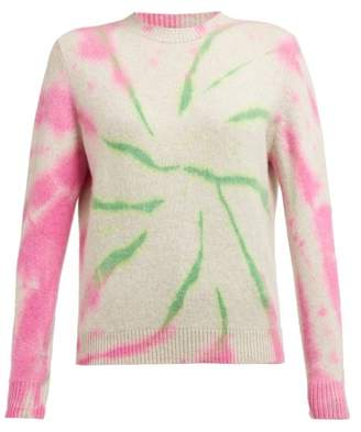 The Elder Statesman Cyclone Tie Dyed Cashmere Sweater - Womens - Pink Multi
