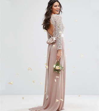 TFNC Lace Maxi Bridesmaid Dress With Bow Back