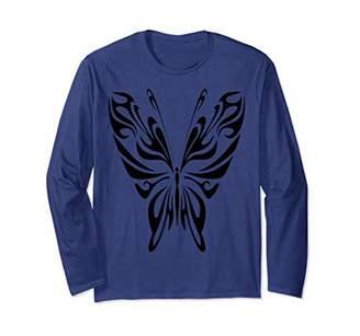 Butterfly T-shirt - Butterfly Tribal T-shirt Long Sleeve