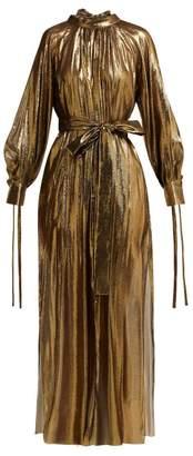 Osman Volita Silk Blend Lame Gown - Womens - Gold