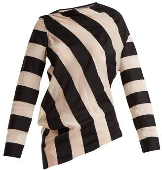 Marques Almeida Marques'almeida - Asymmetric Hem Striped Cotton Blend Top - Womens - Black White