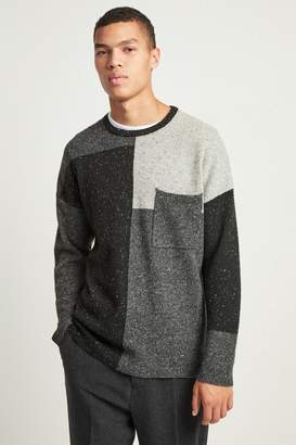 French Connenction Patchwork Donegal Knit Jumper
