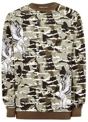 Topman Mens PUNK ROYAL Khaki Camouflage Eagle Sweatshirt