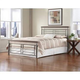 Rails Leggett & Platt Fontane Complete Bed with Metal Geometric Panels and Rounded Cherry Top Rails, Silver Finish, Full