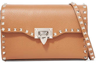 Valentino Garavani The Rockstud Small Textured-leather Shoulder Bag - Tan