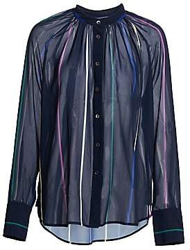 Derek Lam 10 Crosby Women's Rainbow Striped Mandarin Collar Blouse