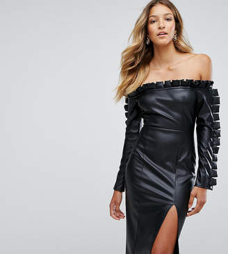 Missguided Leather Look Ruffle Bardot Pencil Dress