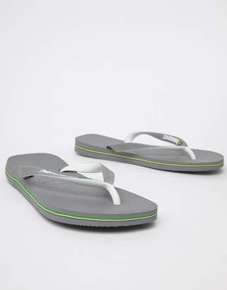 0c43ab603131 Havaianas Brasil Logo Flip Flops In Grey