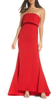 Jarlo Blaze Strapless Foldover Bodice Mermaid Gown