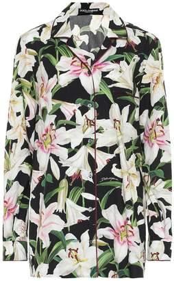 Dolce & Gabbana Floral cotton and silk pajama shirt