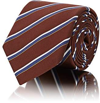 Barneys New York MEN'S STRIPED SILK-COTTON TWILL NECKTIE - BROWN