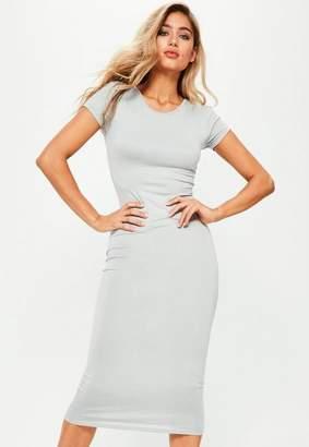 Missguided Gray Short Sleeve Midi Dress