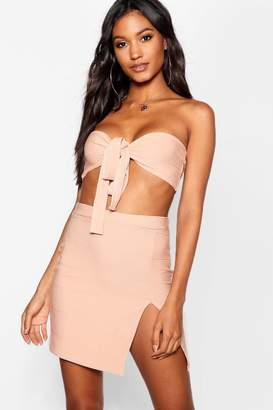 boohoo Bandage Tie Bandeau + Mini Skirt Co-Ord