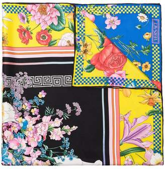Versace multicoloured floral-print silk scarf